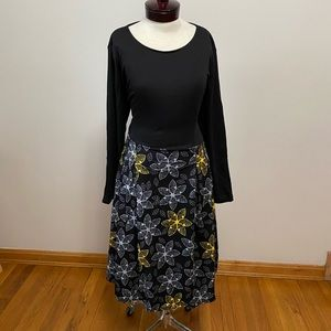 Floral Vintage style black & yellow A-line dress